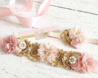 Faja de oro de vientre maternidad rosa por Goldfeatherboutique