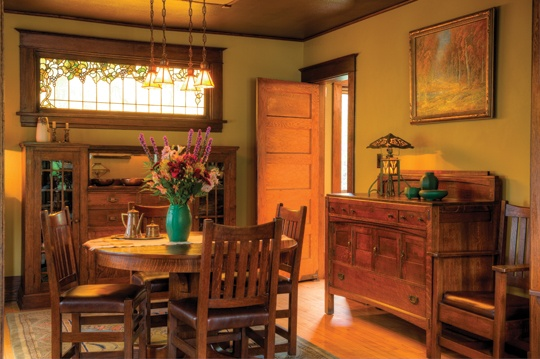 Limbert is evident in the dining room, which is furnished with a table, sideboard and chairs made by the Michigan company and acquired from Eastwood Gallery in St. Paul
