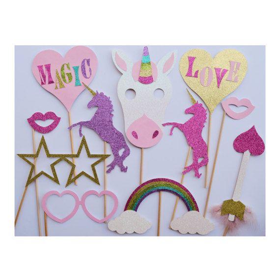 Unicornio fotos fiesta cabina apoyos Decoración de cumpleaños