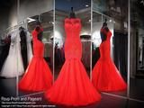 Red Lace High Neck Mermaid Prom Dress - Rsvp CLAR - Long Gown - Rsvp Prom and Pageant Atlanta, Georgia GA - 1