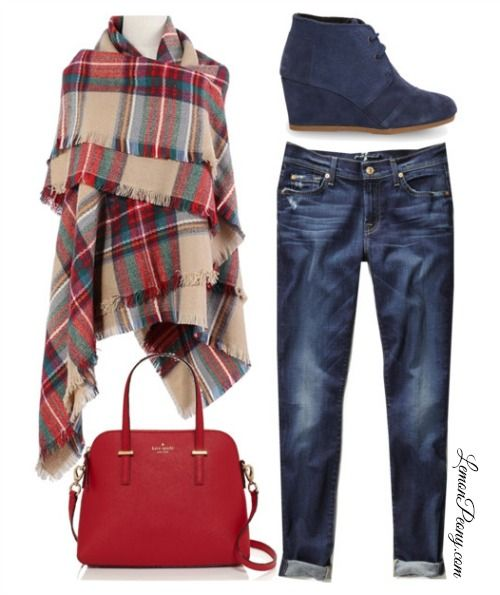 Cheap Plaid Scarf Wrap and Toms Booties   Everyday Fashion!