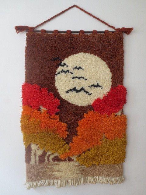 ENORME años 70 cierre gancho textil pared por apricotvintage