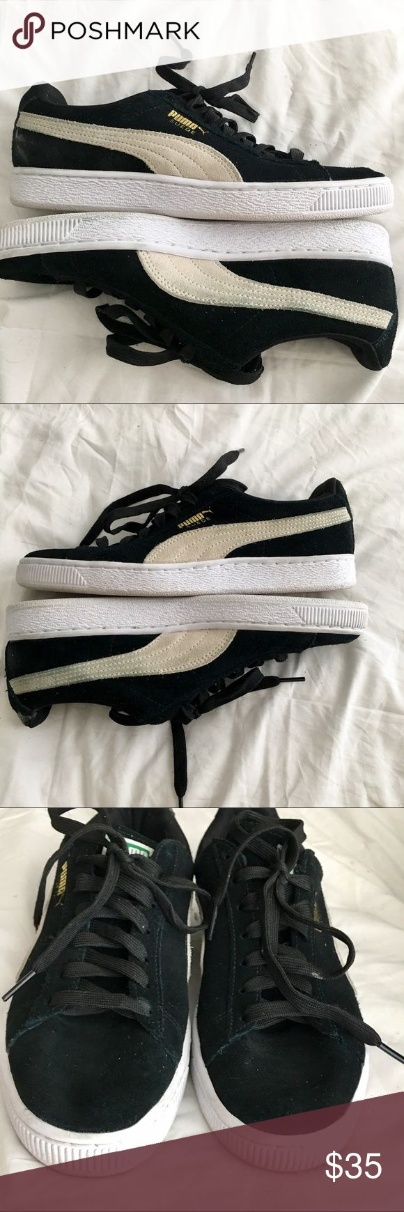 Puma Suede Classic Black Sneakers Women's Size 9 Very good condition overall.  Flaws: gray puma stripes slightly discolored from black suede & right back heel has some candle wax (no idea how that happened 😬), see photos. Puma Shoes Athletic Shoes