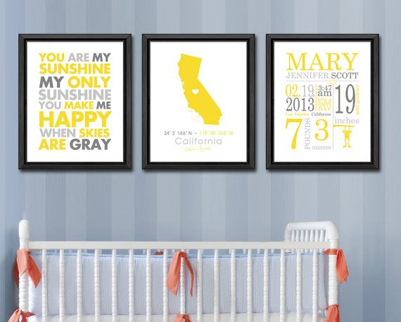 birth records print baby announcement wall art by PinkeeArt, $36.00