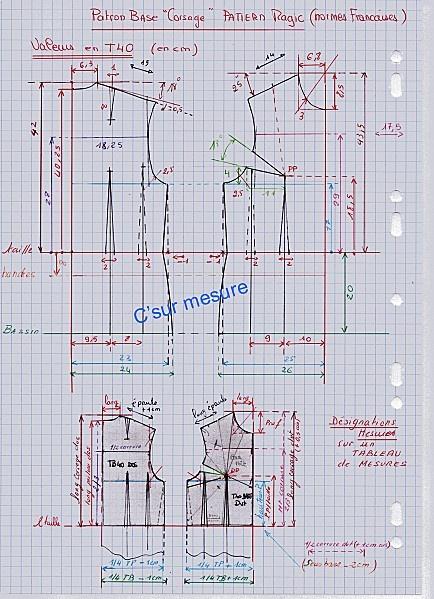 """patron de base corsage """"Pattern magic"""" (normes françaises) T40"""