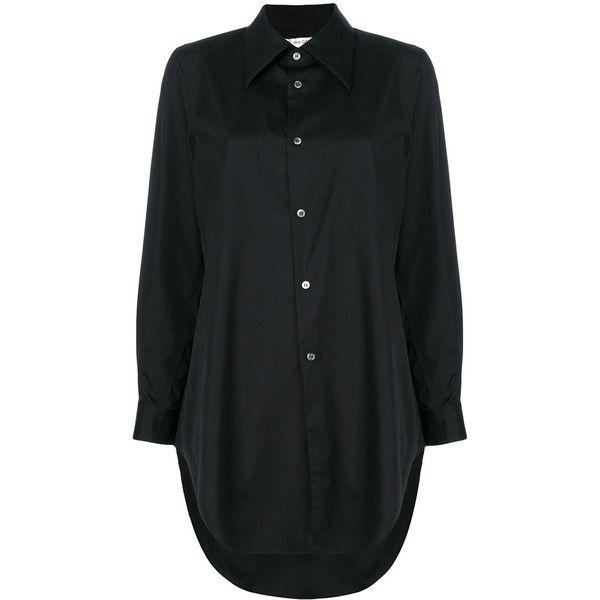 Comme Des Garçons long shirt ($373) ❤ liked on Polyvore featuring tops, black, long shirts, comme des garcons top, comme des garçons and long length shirts