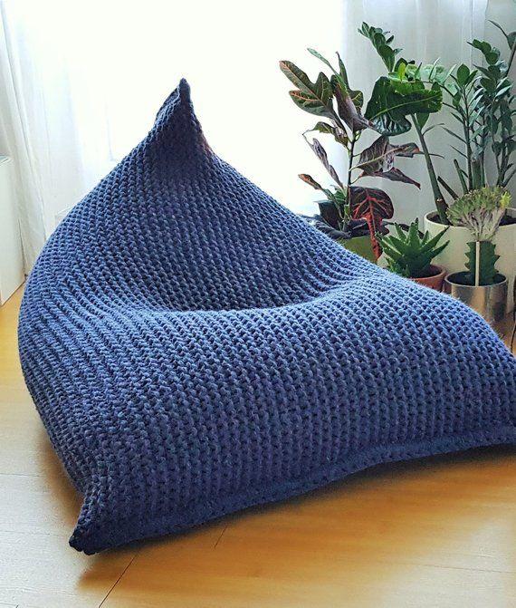 Marvelous Wool Knitted Light Grey Dark Grey Kids Bean Bag Chunky Ncnpc Chair Design For Home Ncnpcorg