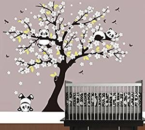 Trend Kinderzimmer Motto Panda Panda Baum Sakura Wandtattoo Aufkleber f r Wohnzimmer Wanddekoration