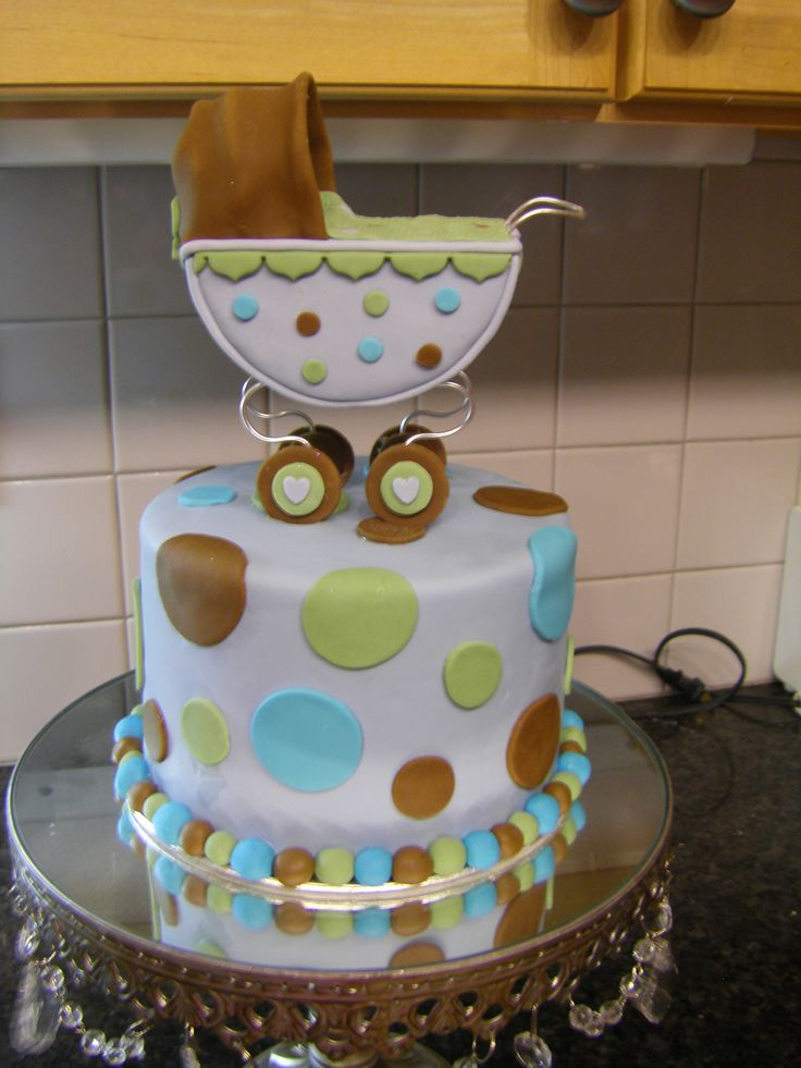 Baby Carriage Cake - Made this for the top of cupcake tiers.  Carriage & cake made out of fondant.