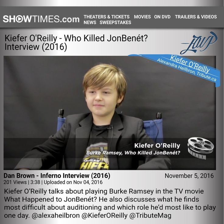Kiefer O'Reilly Interview - Who Killed JonBenét? Movie Info 201 Views | 3:38 | Uploaded on Nov 04, 2016 Kiefer O'Reilly talks about playing Burke Ramsey in the TV movie What Happened to JonBenét? He also discusses what he finds most difficult about auditioning and which role he'd most like to play one day. https://www.showtimes.com/celebrity-interviews/kiefer-oreilly-interview-who-killed-jonbenet-16251/