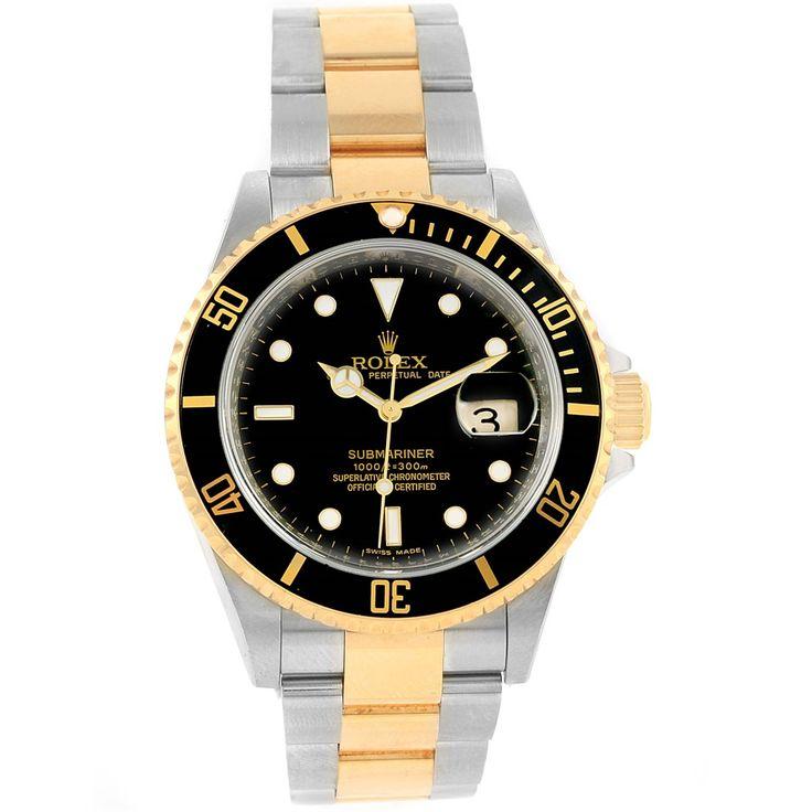 15892 Rolex Submariner 40 Steel 18K Yellow Gold Black Dial Mens Watch 16613 SwissWatchExpo