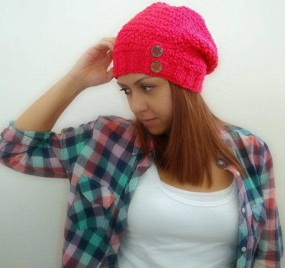 Slouchy pink hand knitted hat with two wooden buttons by Kikoa, $40.00