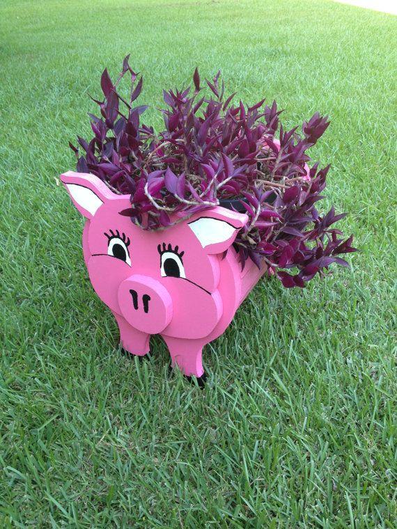 Jardinera de madera Animal  cerdo