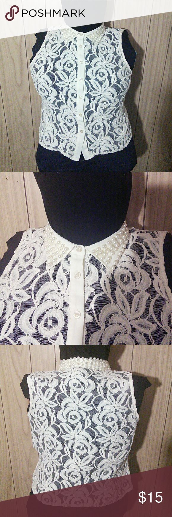 Body Central sleeveless lace top with pearl collar Body Central sleeveless lace top with pearl collar Body Central Tops Blouses