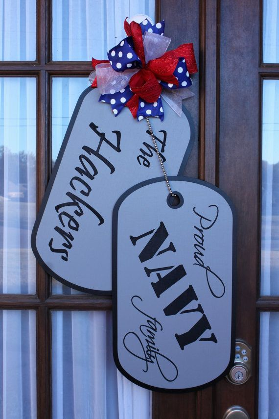 Military Family Wooden Dog Tag Door Hanger by CJenKraft on Etsy