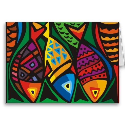Abstract Art Fish (D) Card