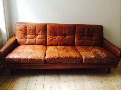 DBA 1000,- Sofa, læder, 3 pers.