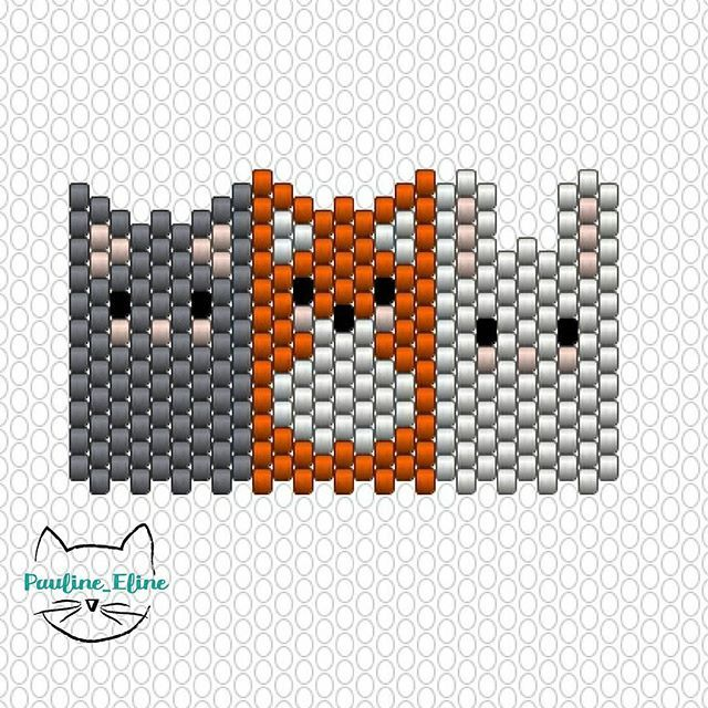 Trois petits animaux bien sages et bien alignés  on peut les perler séparément pour faire des puces d'oreilles, ça peut être sympa! #jenfiledesperlesetjassume #miyukibeads #diagrammeperles #beadpattern #fox #renard #chat #cat #lapin #rabbit #motifpauline_eline #brickstitch #miyukidelica #perle #perlesaddict #bead