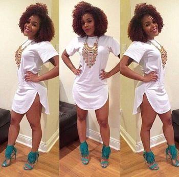 fashion hem Arc designer white loose short sleeve t shirt summer style 2015 women O-neck Tops vogue Tee shirts clothing FREE SHIPPING$8.87