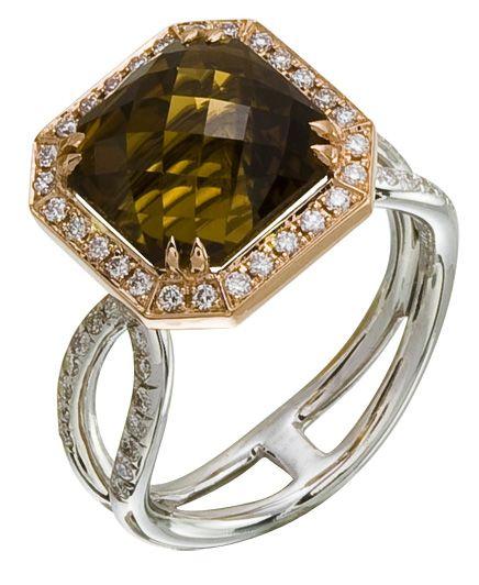 Diamond Ring, .41 Carat Diamonds 5.91 Carat Topaz on 14K Rose & White Gold