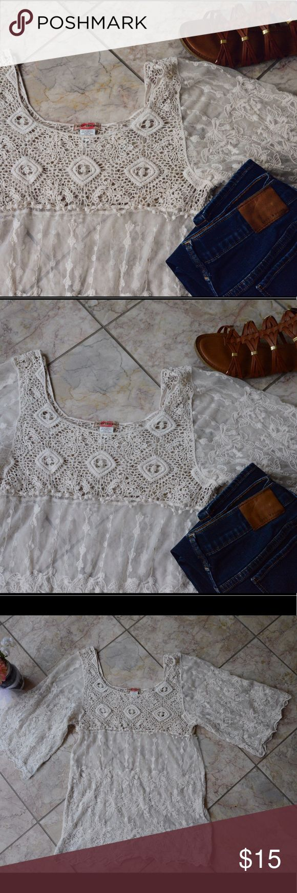 Body Central Lace Top Lace | Crochet Bust | Bell Sleeves Body Central Tops Blouses