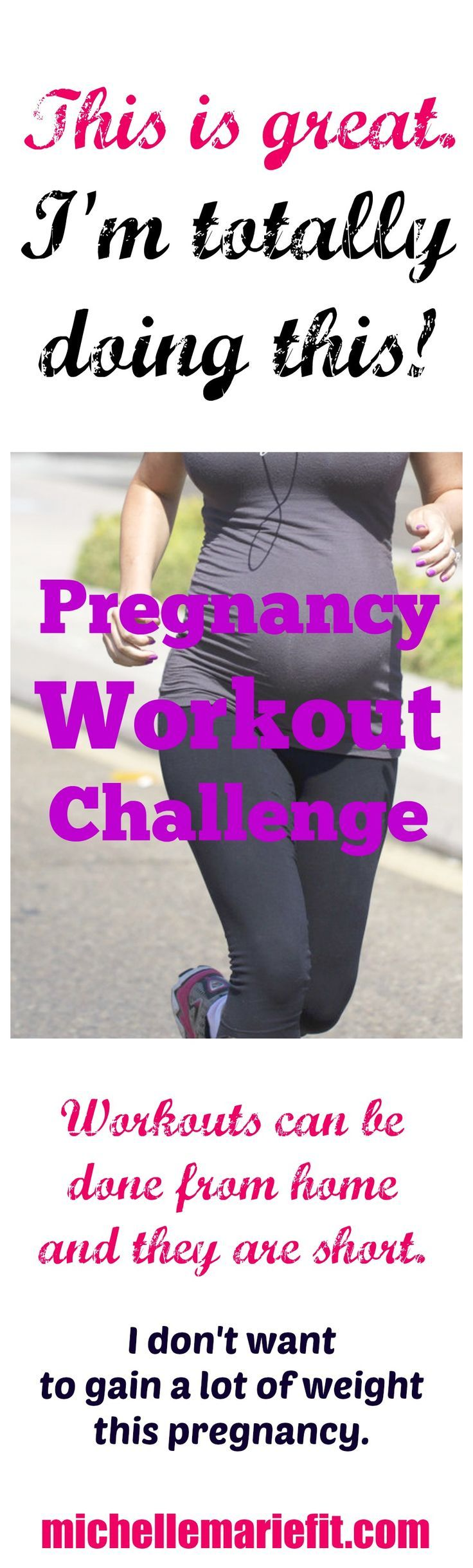 14 Day Jumpstart Pregnancy Workout Challenge Daily workouts and motivation. Pictures and workout videos included  michellemariefit....