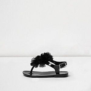 Mini - zwarte jelly sandalen met corsage voor meisjes