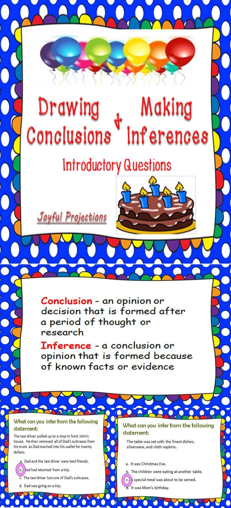 Introduce Drawing Conclusions and Making Inferences with these sample scenarios.
