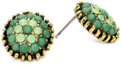 Yochi Apple Green Combo Stone Burst Brim Earrings
