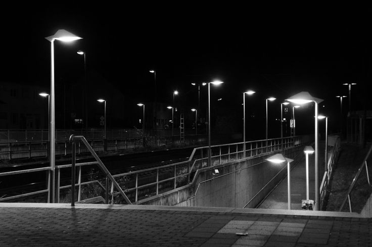 Pulheim main station at night