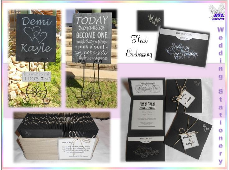 Wedding stationery with a rustic feel. The invitations are black and white in color with heat embossing and tied with a hessian ribbon. The seating plan is written with chalk on a chalk board- 'Today two families become one' and placed on a black metal stand.