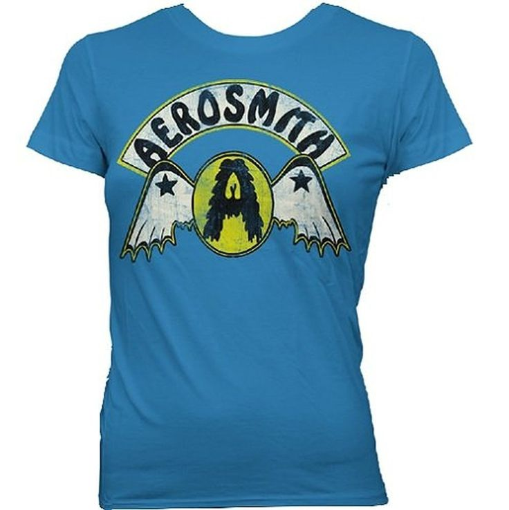 Aerosmith Circle A With Wings Juniors T-shirt, Turquoise, Small