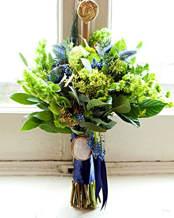 Green and blue flowers