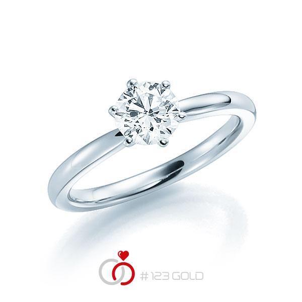 Verlobungsring Diamantring 6 Krappen, Profilschiene- Legierung: Weißgold 585/- - Steinbesatz: 1 Brillant 1 ct. tw, si