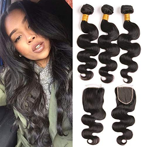 New 3 Bundles With Closure Body Wave Brazilian Hair Free Part Lace Front 4×4 And Real Remi Human Hair Weave 3 Lot Wet And Wavy For Black Women Double Weft Silky Bundles 9a Grade 20 22 24+18 Closure online shopping