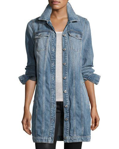 """7 For All Mankind """"Trucker"""" style jacket crafted from stretch 12.25-ounce denim in Light Brighton Blue wash. Spread collar; button front. Long sleeves; barrel cuffs. Front slip pockets at hips. Yoked"""