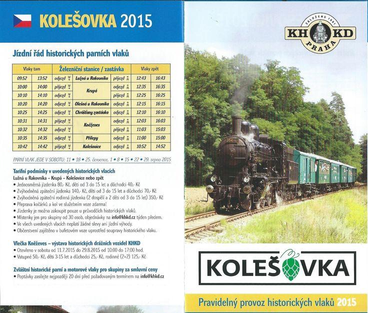 Kolešovka 2015 - Jízdní řád historických parních vlaků. - - - Trasa: Lužná u Rakovníka - Kolešovice. - - -  Parní vlak jede v sobotu: 11. - 18. - 25. července, 1. - 8. - 22. - 29. srpna 2015.  - - -  Obousměrná jízdenka 140,- Kč, Rodinná zpáteční jízdenka 350,- Kč, Obousměrná děti od 3 do 15 let (a důchodci) 70,- Kč. První odjezd v 9:52 hod z Lužné II.