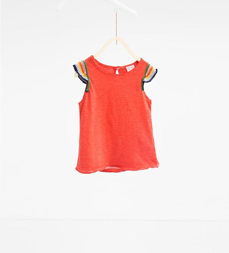 Afbeelding 1 van T-shirt met haakwerk van Zara