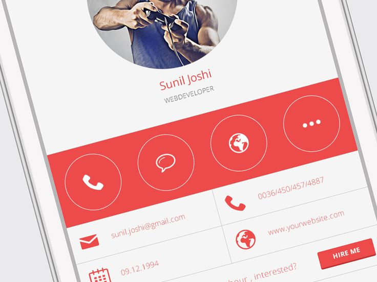 User Profile for Mobile – PSD - Freebbble