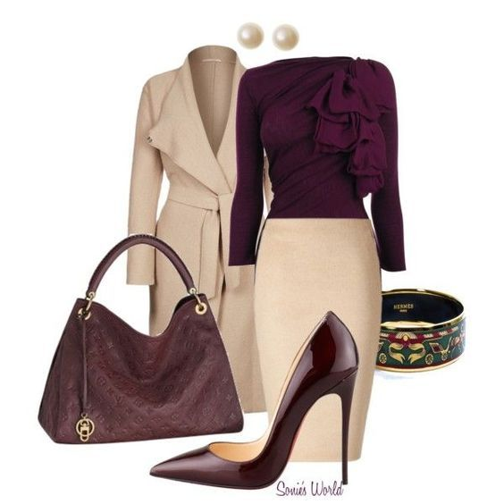 Beautiful outfit made of cream and aubergine (color pass numbers 13 and 36)