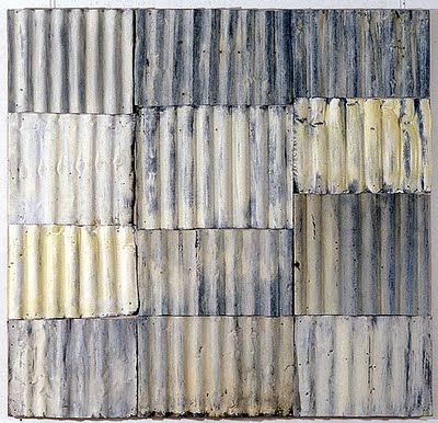 'White Garden' (1995) by New Zealand-born, Australian-based artist Rosalie Gascoigne (1917-1999). Mixed media, corrugated iron on wood, 184 x 177 cm. source: roslyn oxley9 gallery. via Art Propelled