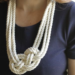 Set sail on the seas of enviable style with this tutorial for a Charming and Sweet Nautical Necklace. Learn how to tie a #nautical #knot using a rope you already own, and make this cute and easy #DIY necklace. Nautical is a hot summer trend, and this is an simple way to get the fashionable look for less.