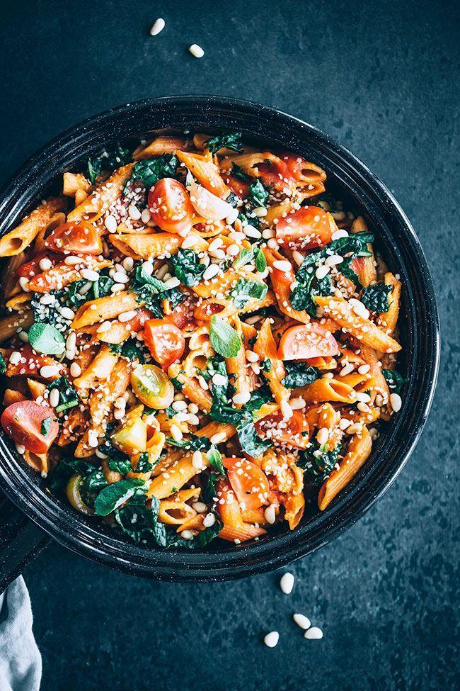 Lentil Pasta With Kale And Marinara Sauce Vegan And Gf