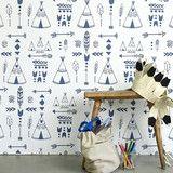 Hibou Home Wallpaper   Teepees Indigo on White