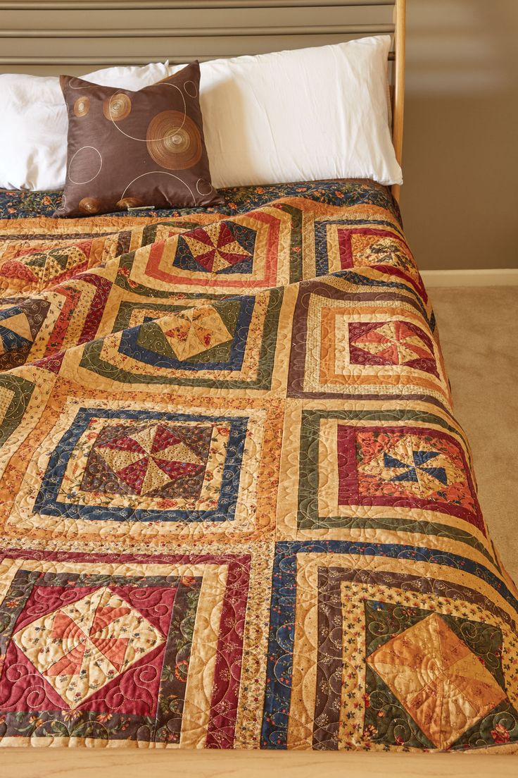Patchwork bed sheets patterns - Pinwheel Song By Christina Mccourt Tis The Season For Autumn Bed Size Quilt