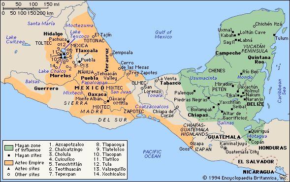 Chap 22 Olmec, Aztec and Mayan Map - Cycle 1 History Weeks 16 & 17, Geography Week 18