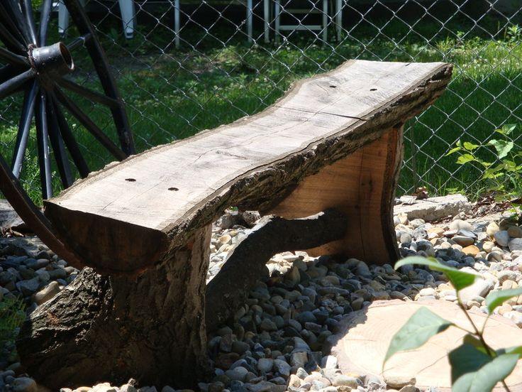 Rustic Garden Ideas | Rustic Oak Log Garden Bench   By BobO @  LumberJocks.com