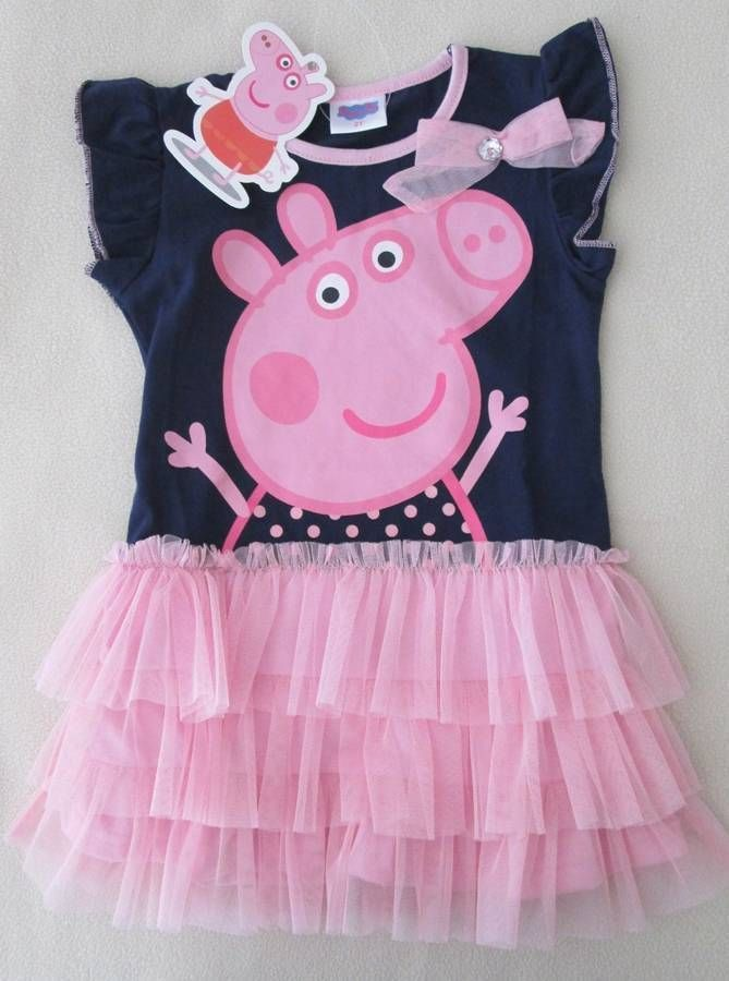 New Peppa Pig Navy & Pink Tutu Bow  Bling Tulle Sparkly Dots USA 18 mo 2 3 4 5  #PeppaPig #Everyday