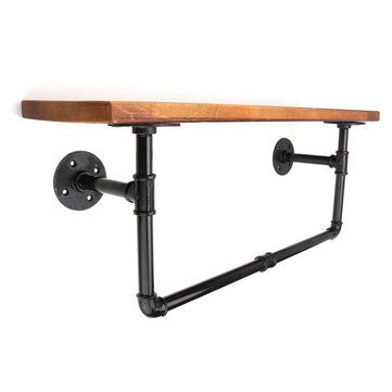 Industrial Style DIY Iron Pipe Shelf Rustic Retro Wall Mount Wooden Storage Shelf with Hanging Rack