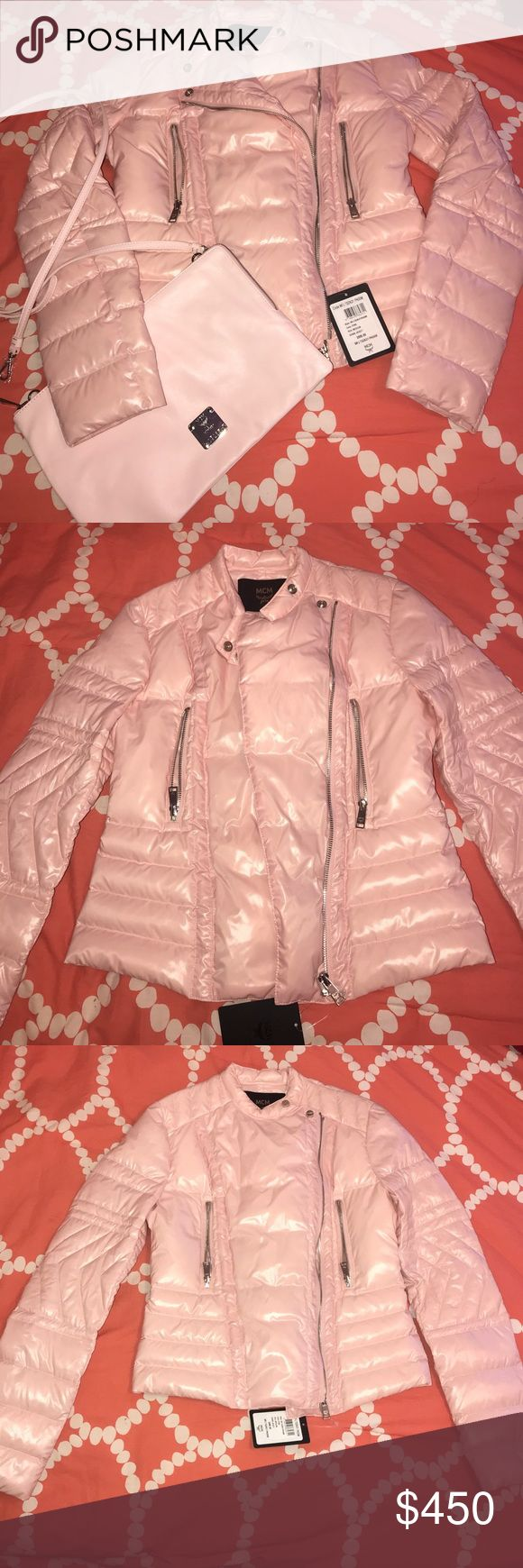 Pink Medium Down Jacket with pink pouch Shiny Soft  Pink Down Jacket with silver zippers and a soft pink pouch to match. The jacket is a biker style Down Jacket with feather filling. NEVER WORN!!! MCM Jackets & Coats